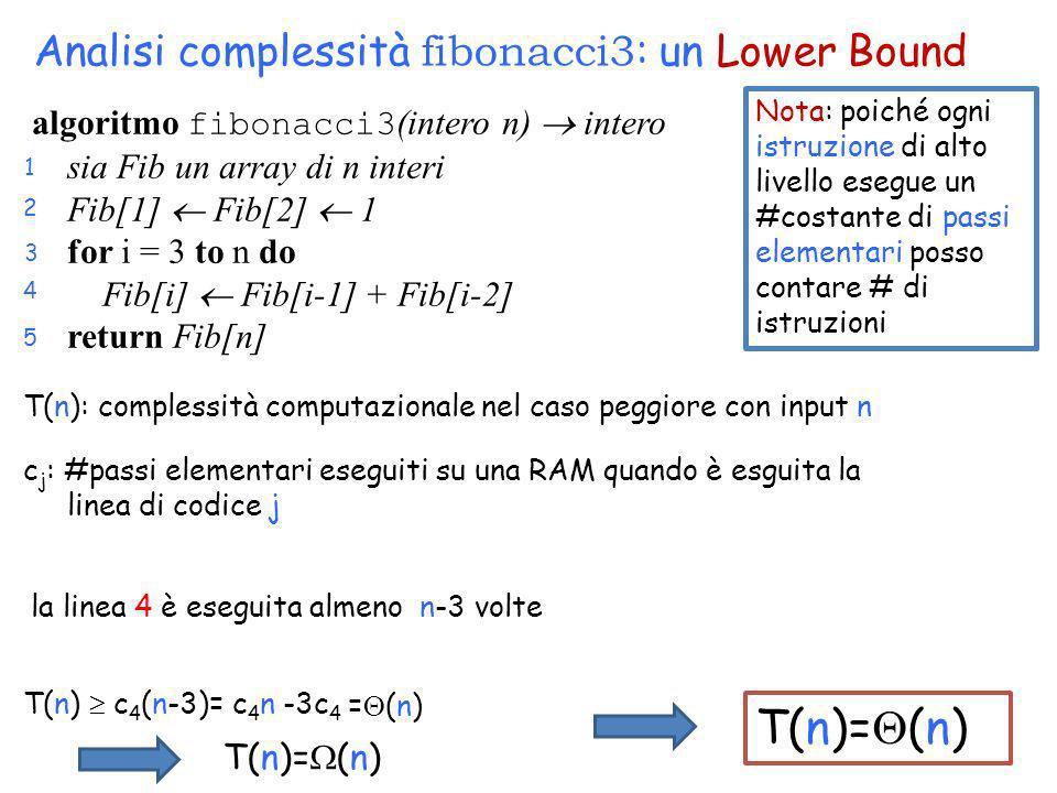 T(n) c 4 (n-3)= c 4 n -3c 4 la linea 4 è eseguita almeno n-3 volte = (n) T(n)= (n) Nota: poiché ogni istruzione di alto livello esegue un #costante di