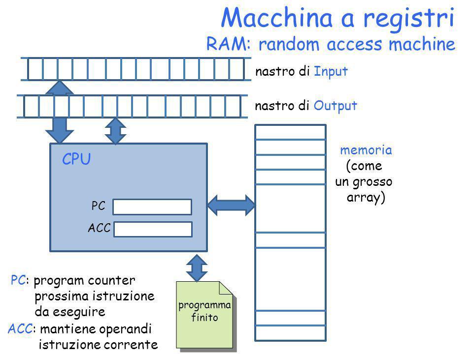 Macchina a registri RAM: random access machine memoria (come un grosso array) programma finito nastro di Input nastro di Output PC ACC CPU PC: program
