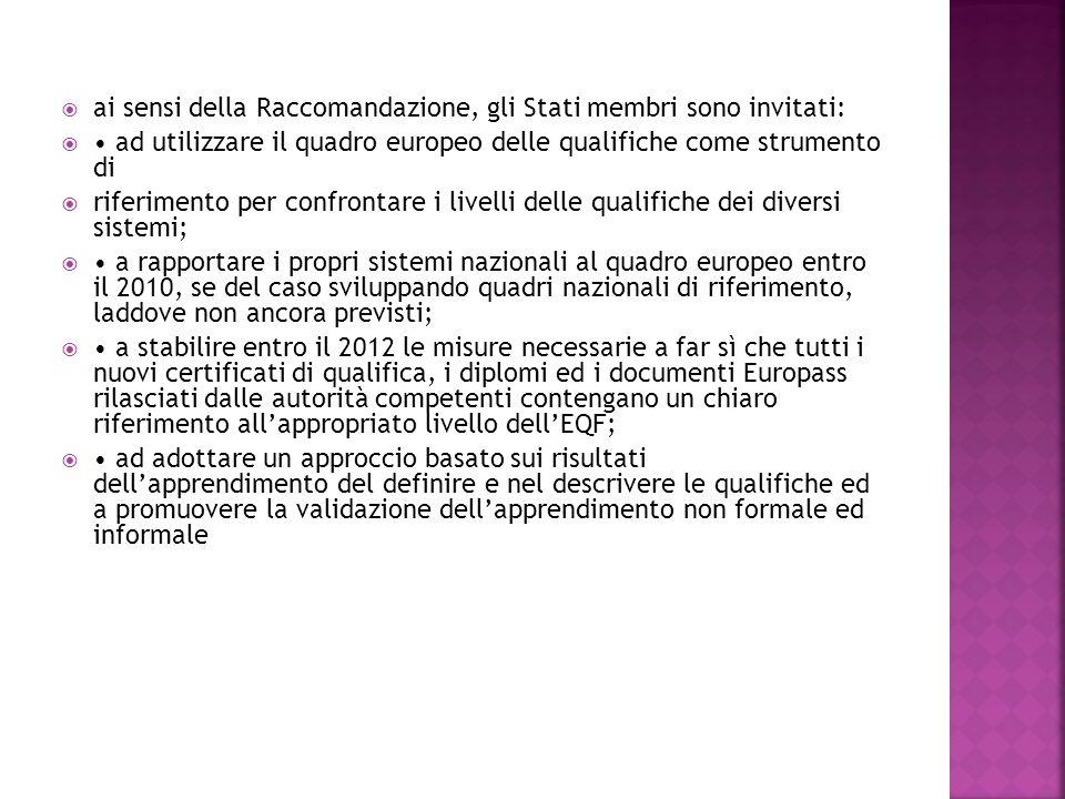 ai sensi della Raccomandazione, gli Stati membri sono invitati: ad utilizzare il quadro europeo delle qualifiche come strumento di riferimento per confrontare i livelli delle qualifiche dei diversi sistemi; a rapportare i propri sistemi nazionali al quadro europeo entro il 2010, se del caso sviluppando quadri nazionali di riferimento, laddove non ancora previsti; a stabilire entro il 2012 le misure necessarie a far sì che tutti i nuovi certificati di qualifica, i diplomi ed i documenti Europass rilasciati dalle autorità competenti contengano un chiaro riferimento allappropriato livello dellEQF; ad adottare un approccio basato sui risultati dellapprendimento del definire e nel descrivere le qualifiche ed a promuovere la validazione dellapprendimento non formale ed informale