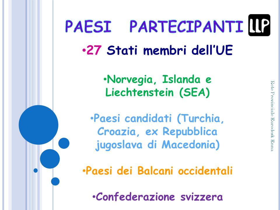 27 Stati membri dellUE Norvegia, Islanda e Liechtenstein (SEA) Paesi candidati (Turchia, Croazia, ex Repubblica jugoslava di Macedonia) Paesi dei Balc