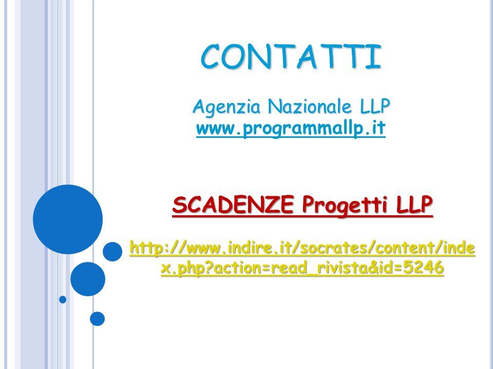 CONTATTI Agenzia Nazionale LLP Agenzia Nazionale LLP www.programmallp.it SCADENZE Progetti LLP http://www.indire.it/socrates/content/inde x.php?action