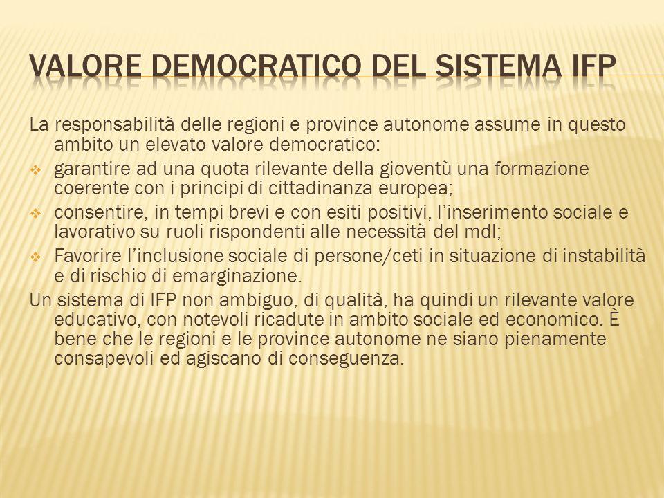 La responsabilità delle regioni e province autonome assume in questo ambito un elevato valore democratico: garantire ad una quota rilevante della giov