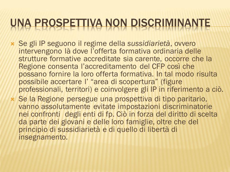 Se gli IP seguono il regime della sussidiarietà, ovvero intervengono là dove lofferta formativa ordinaria delle strutture formative accreditate sia ca