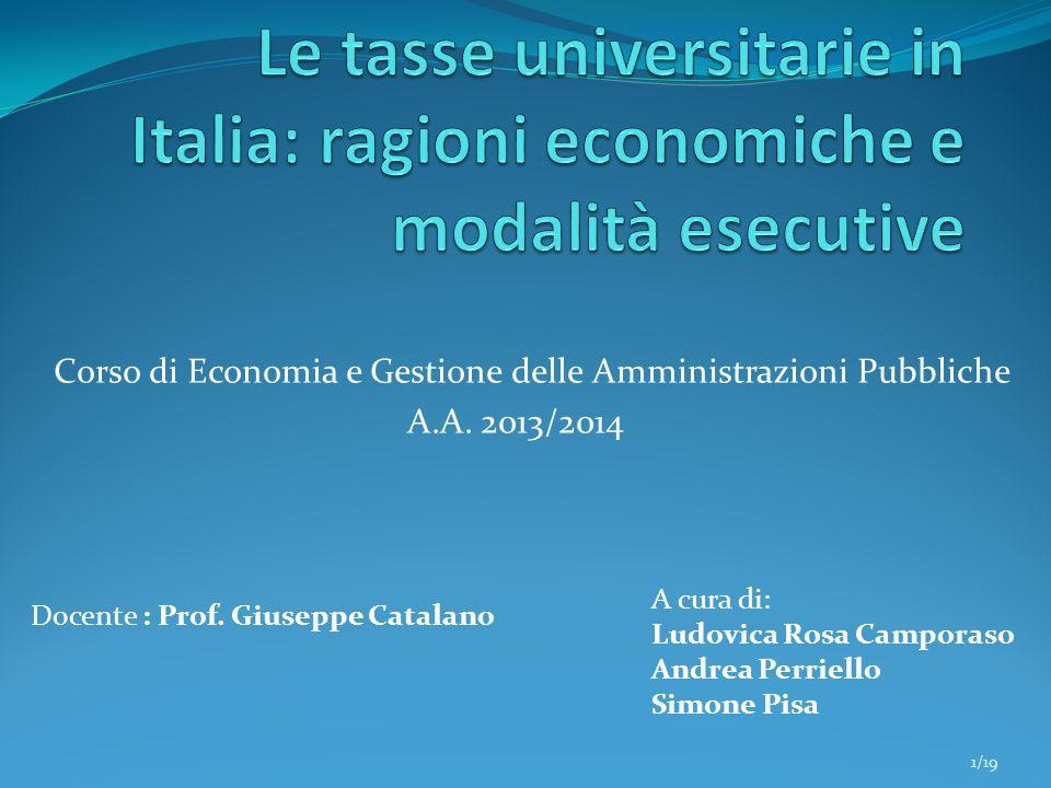 Corso di Economia e Gestione delle Amministrazioni Pubbliche A.A. 2013/2014 A cura di: Ludovica Rosa Camporaso Andrea Perriello Simone Pisa Docente :