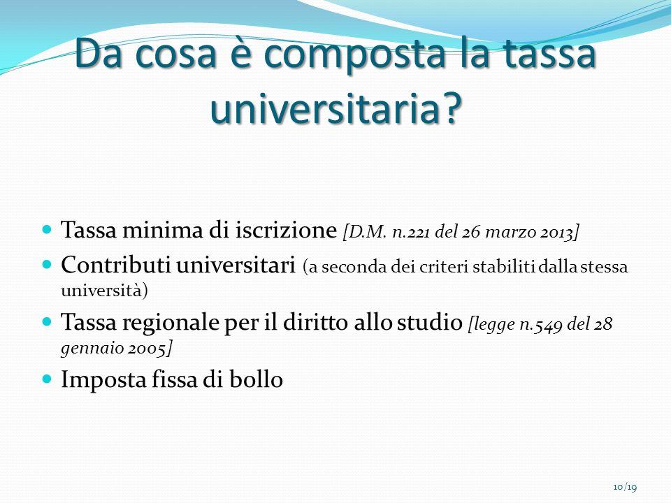 Da cosa è composta la tassa universitaria? Tassa minima di iscrizione [D.M. n.221 del 26 marzo 2013] Contributi universitari (a seconda dei criteri st