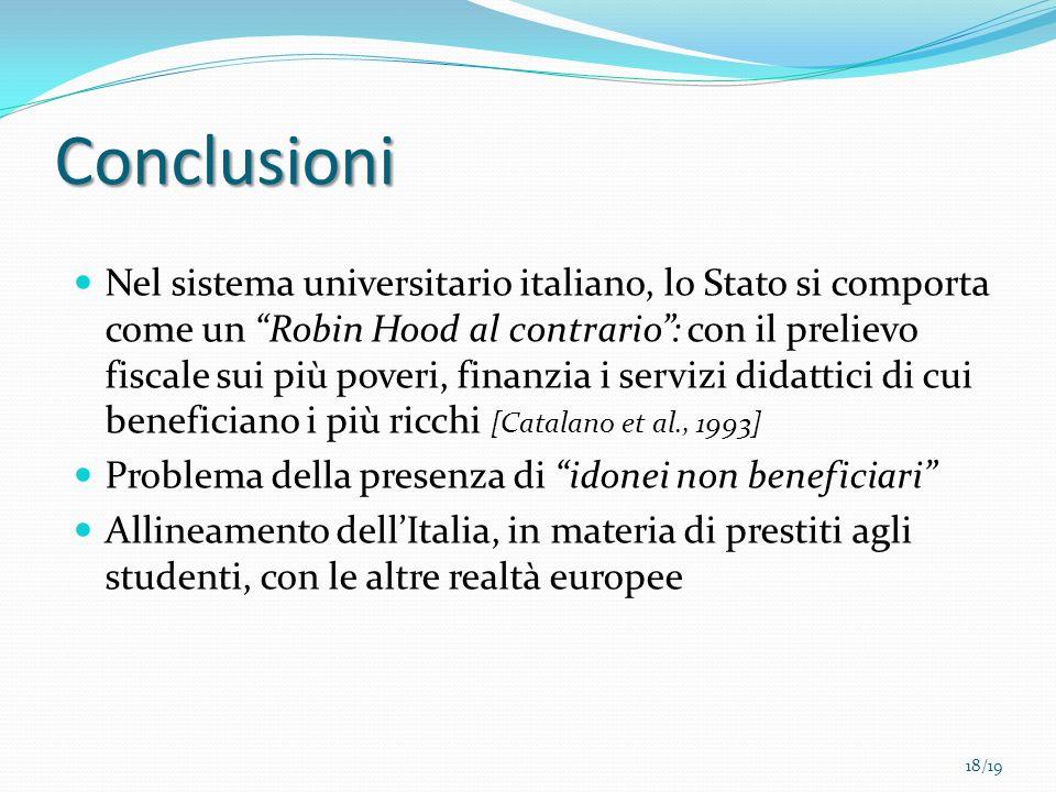 Conclusioni Nel sistema universitario italiano, lo Stato si comporta come un Robin Hood al contrario: con il prelievo fiscale sui più poveri, finanzia