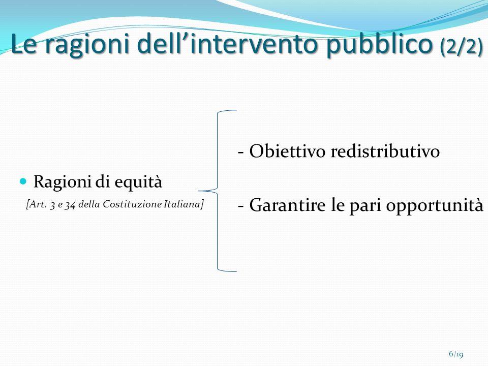 Ragioni di equità - Obiettivo redistributivo - Garantire le pari opportunità 6/19 [Art. 3 e 34 della Costituzione Italiana] Le ragioni dellintervento