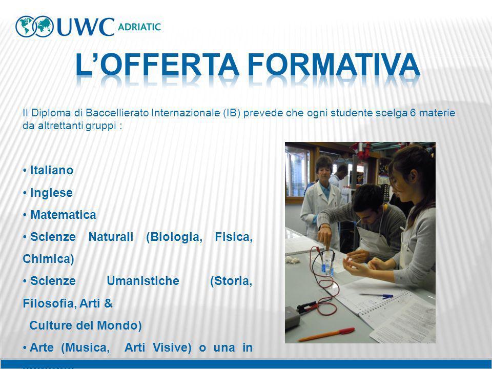 Il Diploma di Baccellierato Internazionale (IB) prevede che ogni studente scelga 6 materie da altrettanti gruppi : Italiano Inglese Matematica Scienze