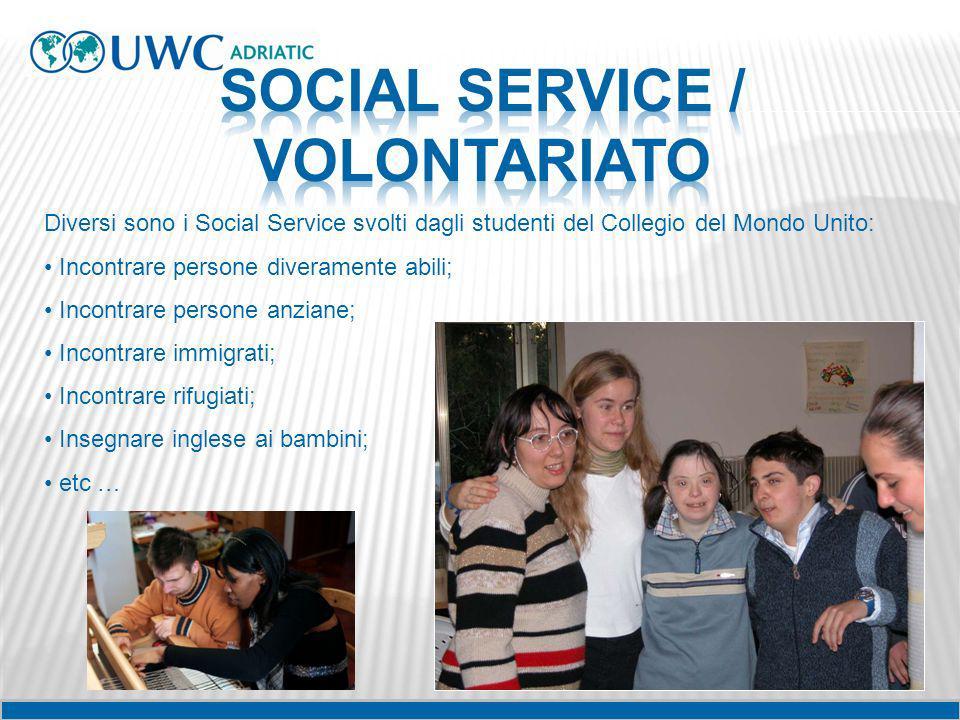 Diversi sono i Social Service svolti dagli studenti del Collegio del Mondo Unito: Incontrare persone diveramente abili; Incontrare persone anziane; In