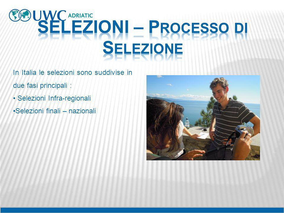 In Italia le selezioni sono suddivise in due fasi principali : Selezioni Infra-regionali Selezioni finali – nazionali