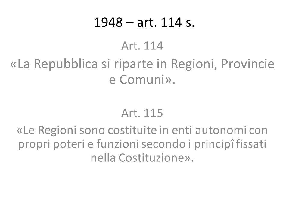 1948 – art. 114 s. Art. 114 «La Repubblica si riparte in Regioni, Provincie e Comuni». Art. 115 «Le Regioni sono costituite in enti autonomi con propr