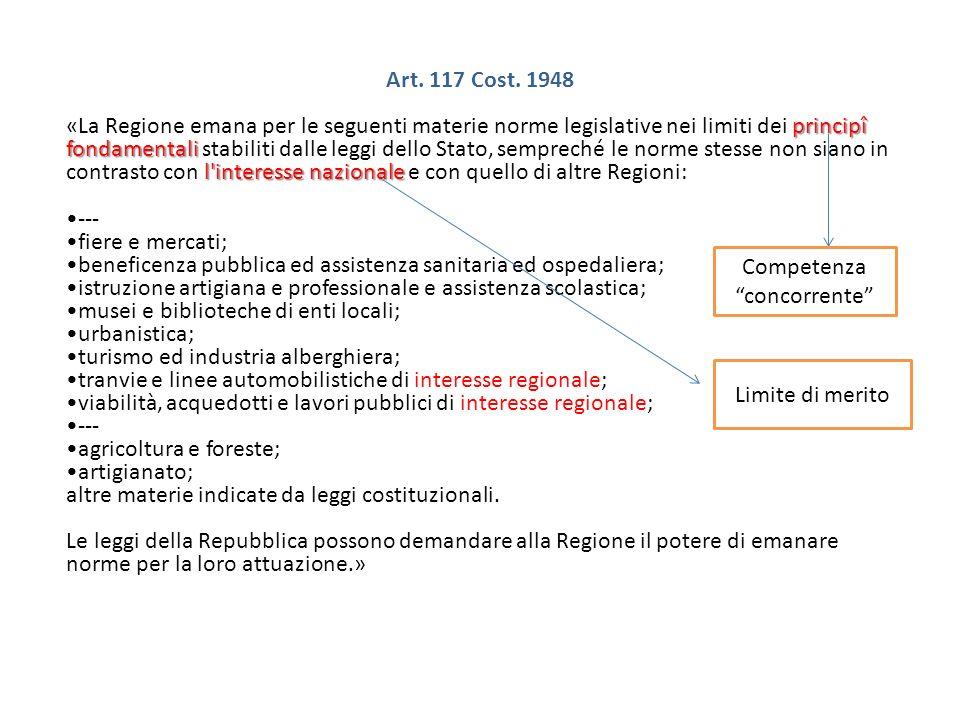 Art. 117 Cost. 1948 principî fondamentali l'interesse nazionale «La Regione emana per le seguenti materie norme legislative nei limiti dei principî fo