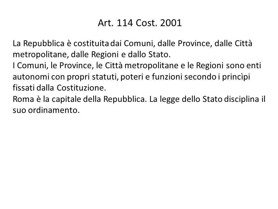 Art. 114 Cost. 2001 La Repubblica è costituita dai Comuni, dalle Province, dalle Città metropolitane, dalle Regioni e dallo Stato. I Comuni, le Provin