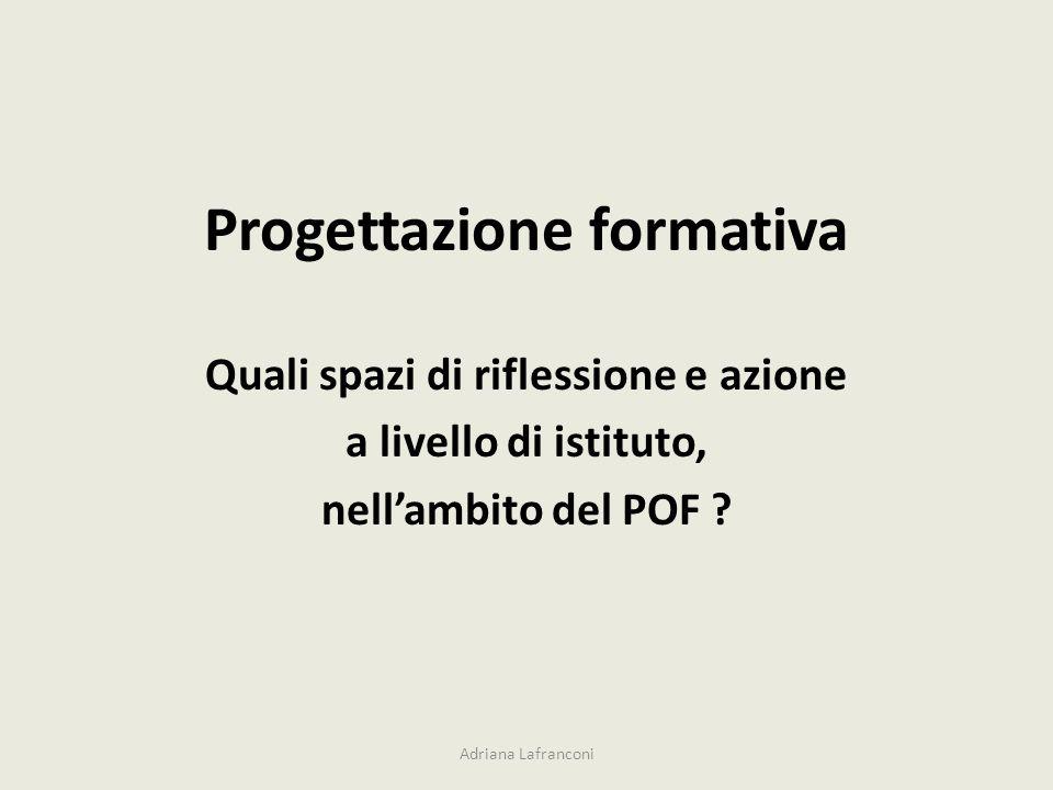 Progettazione formativa Quali spazi di riflessione e azione a livello di istituto, nellambito del POF ? Adriana Lafranconi