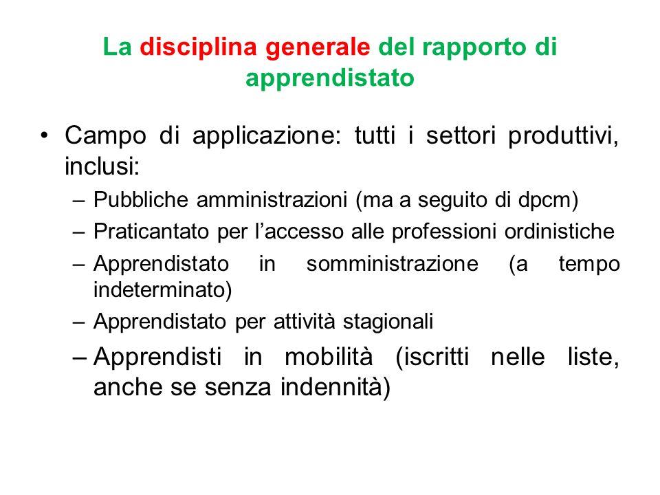La disciplina generale del rapporto di apprendistato Campo di applicazione: tutti i settori produttivi, inclusi: –Pubbliche amministrazioni (ma a segu
