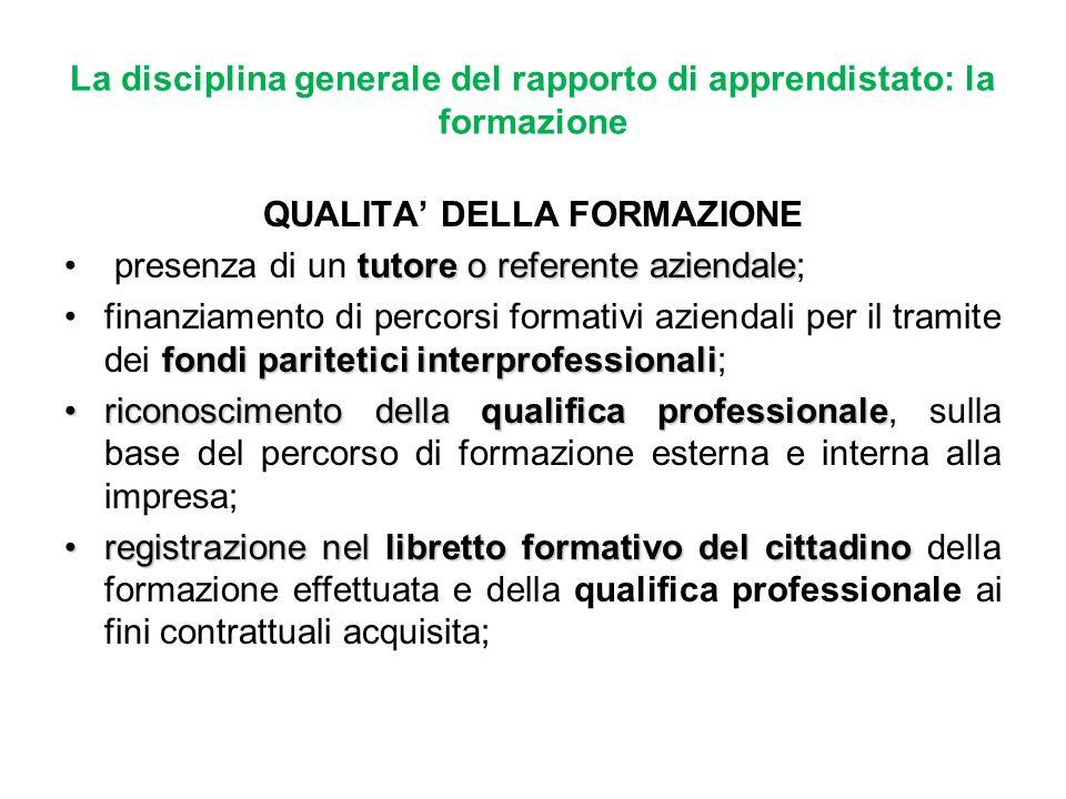 La disciplina generale del rapporto di apprendistato: la formazione QUALITA DELLA FORMAZIONE tutore o referente aziendale presenza di un tutore o refe