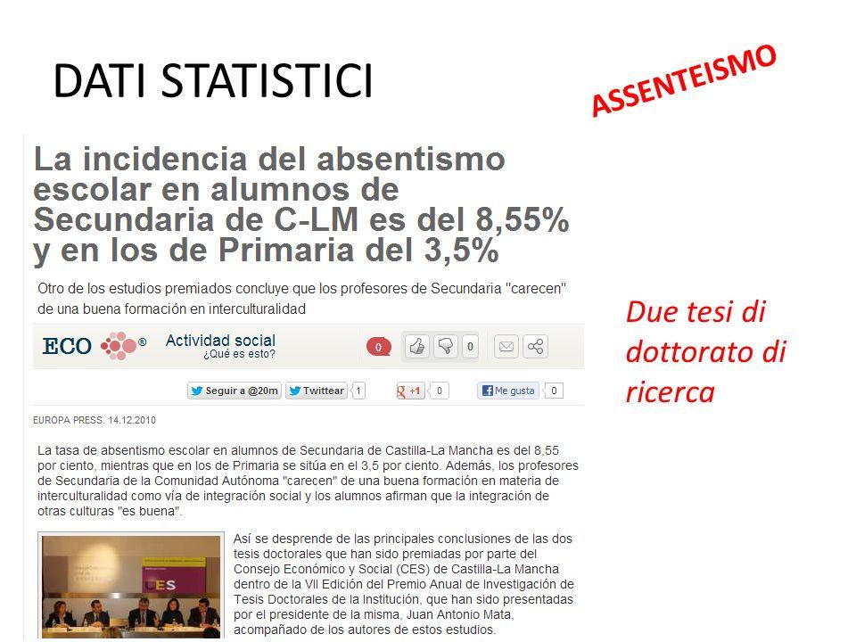 DATI STATISTICI ASSENTEISMO Due tesi di dottorato di ricerca
