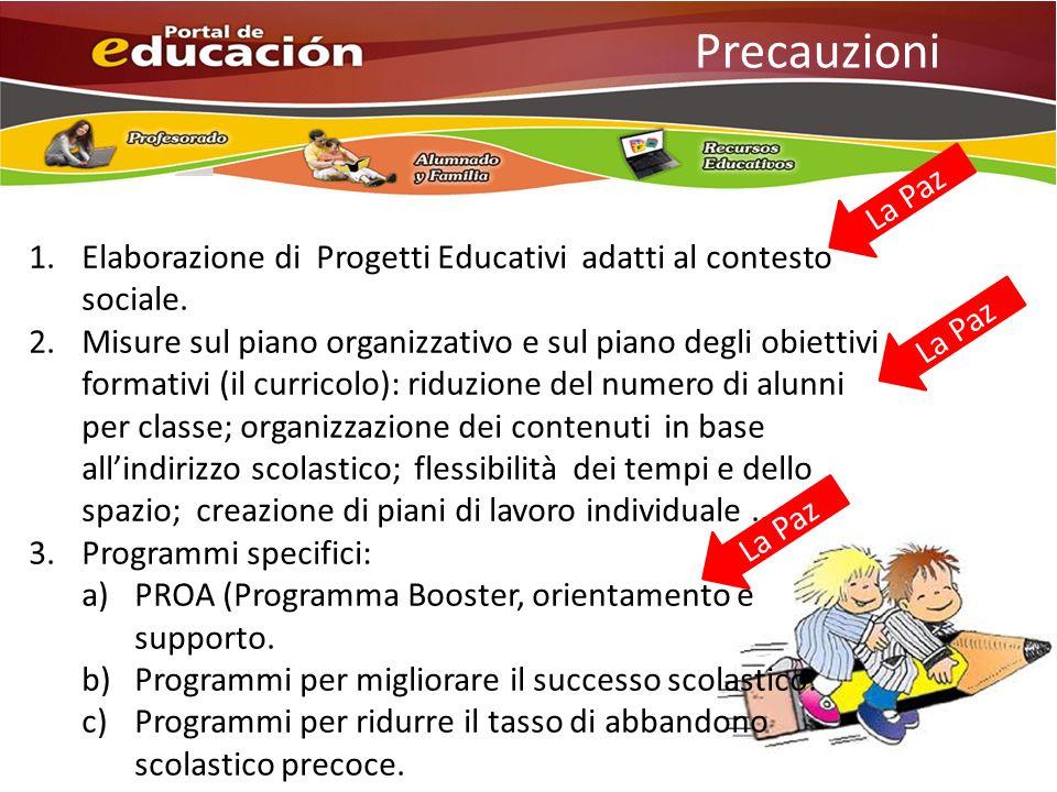 Precauzioni 1.Elaborazione di Progetti Educativi adatti al contesto sociale.