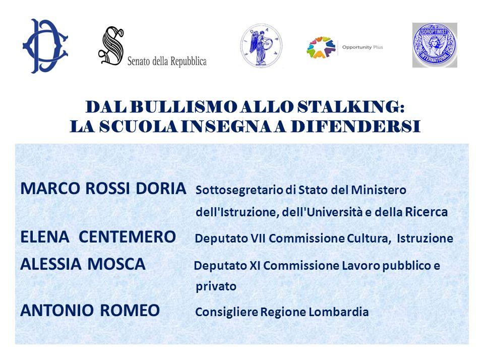 DAL BULLISMO ALLO STALKING: LA SCUOLA INSEGNA A DIFENDERSI MARCO ROSSI DORIA Sottosegretario di Stato del Ministero dell'Istruzione, dell'Università e