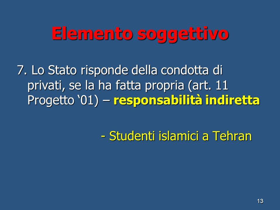 Elemento soggettivo 7.Lo Stato risponde della condotta di privati, se la ha fatta propria (art.