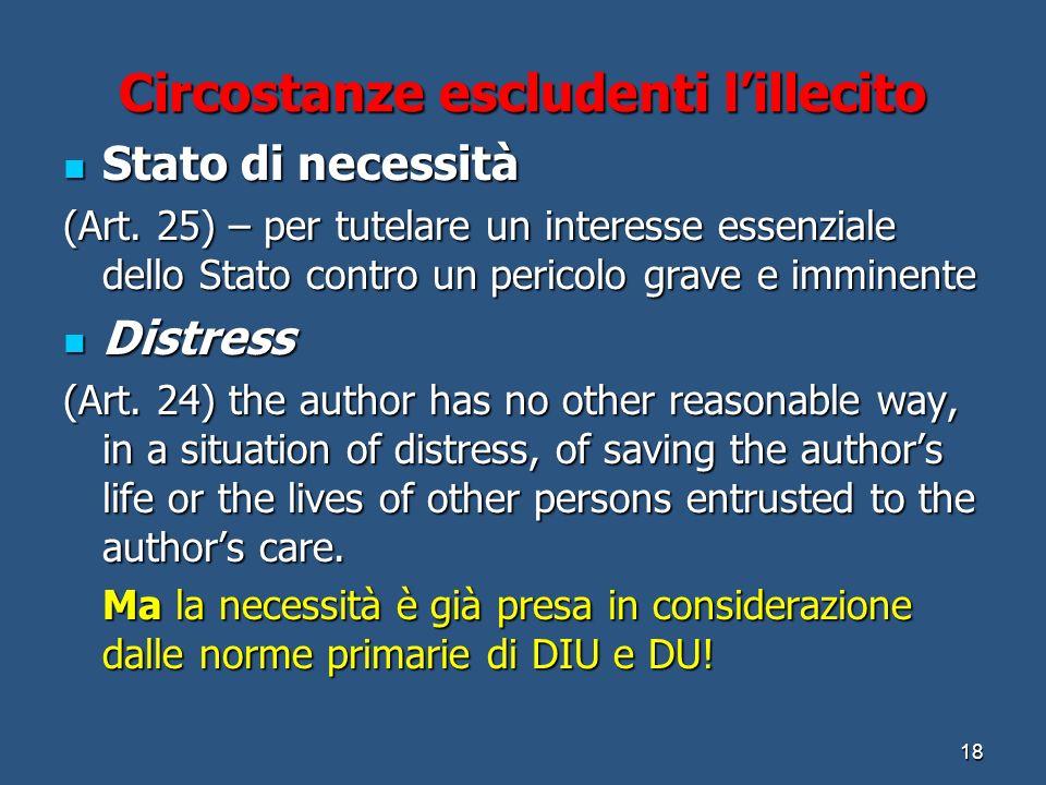 Circostanze escludenti lillecito Stato di necessità Stato di necessità (Art.