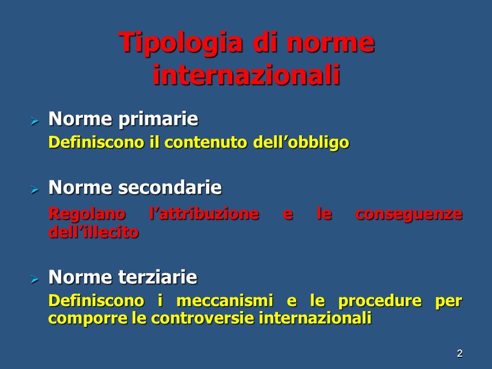 Tipologia di norme internazionali Norme primarie Norme primarie Definiscono il contenuto dellobbligo Norme secondarie Norme secondarie Regolano lattribuzione e le conseguenze dellillecito Norme terziarie Norme terziarie Definiscono i meccanismi e le procedure per comporre le controversie internazionali 2