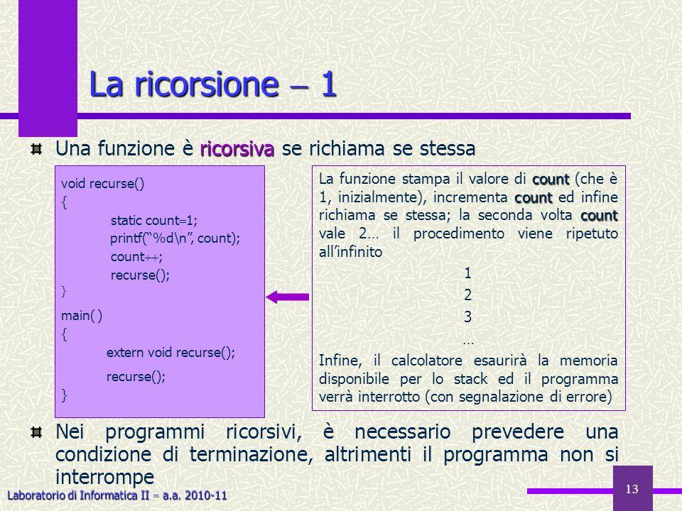 Laboratorio di Informatica II a.a. 2010-11 13 La ricorsione 1 ricorsiva Una funzione è ricorsiva se richiama se stessa Nei programmi ricorsivi, è nece