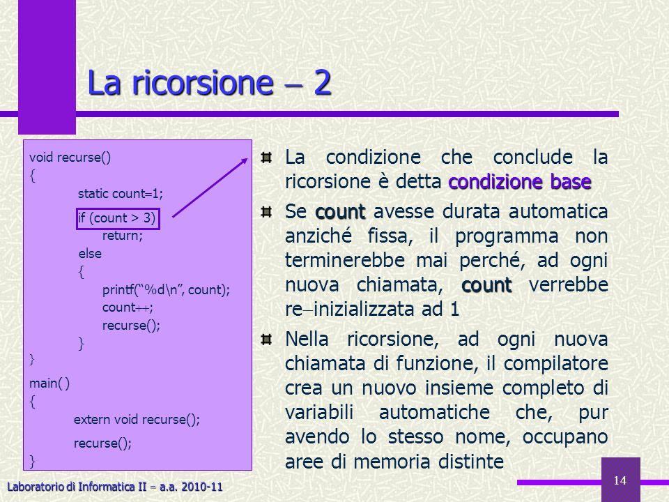 Laboratorio di Informatica II a.a. 2010-11 14 La ricorsione 2 condizione base La condizione che conclude la ricorsione è detta condizione base count c