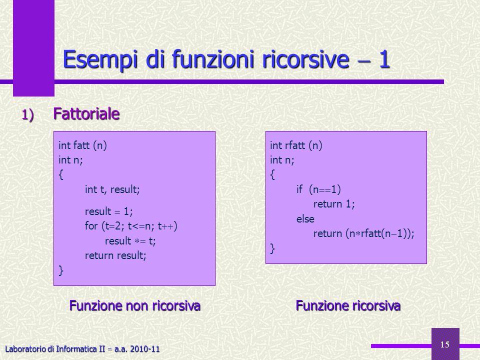 Laboratorio di Informatica II a.a. 2010-11 15 Esempi di funzioni ricorsive 1 1) Fattoriale int rfatt (n) int n; { if (n 1) return 1; else return (n rf