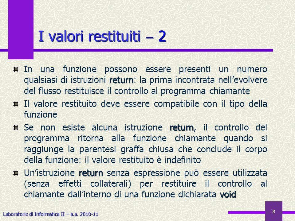 Laboratorio di Informatica II a.a. 2010-11 8 I valori restituiti 2 return In una funzione possono essere presenti un numero qualsiasi di istruzioni re