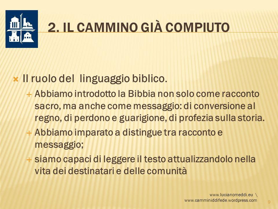 2. IL CAMMINO GIÀ COMPIUTO Il ruolo del linguaggio biblico. Abbiamo introdotto la Bibbia non solo come racconto sacro, ma anche come messaggio: di con