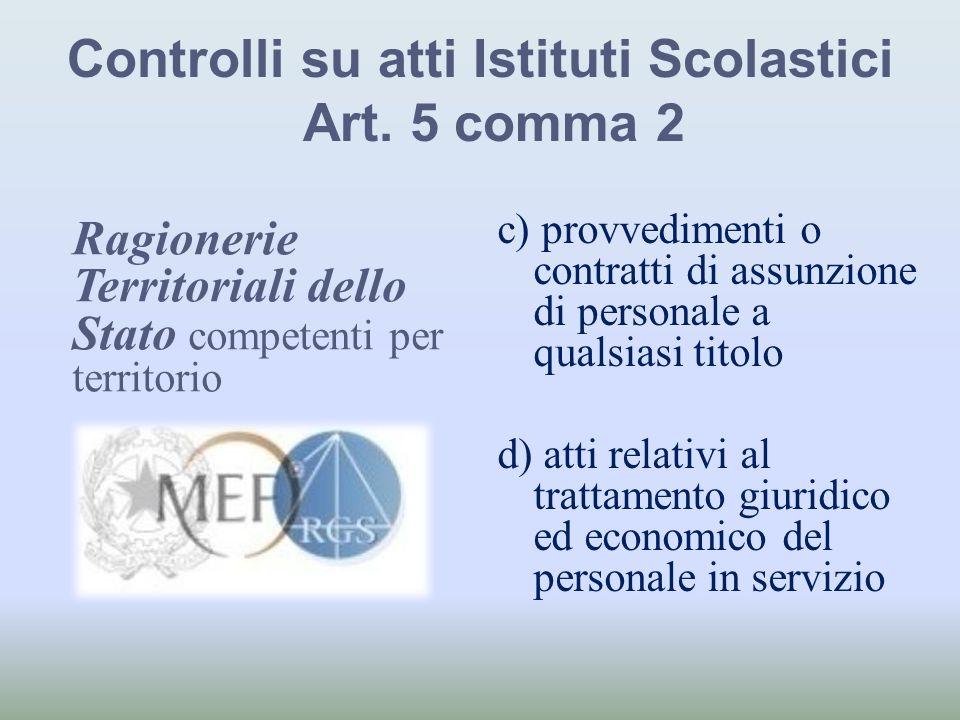 Controlli su atti Istituti Scolastici Art. 5 comma 2 c) provvedimenti o contratti di assunzione di personale a qualsiasi titolo d) atti relativi al tr
