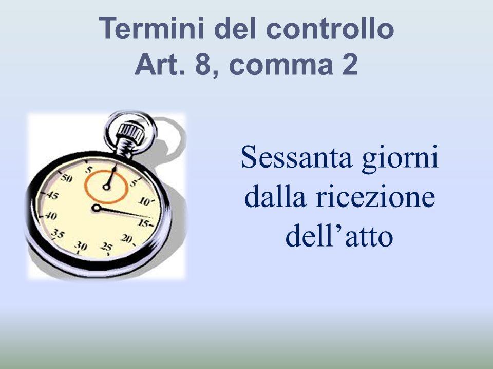 Termini del controllo Art. 8, comma 2 Sessanta giorni dalla ricezione dellatto