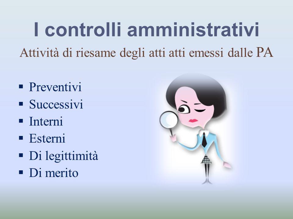 I controlli amministrativi Attività di riesame degli atti atti emessi dalle PA Preventivi Successivi Interni Esterni Di legittimità Di merito
