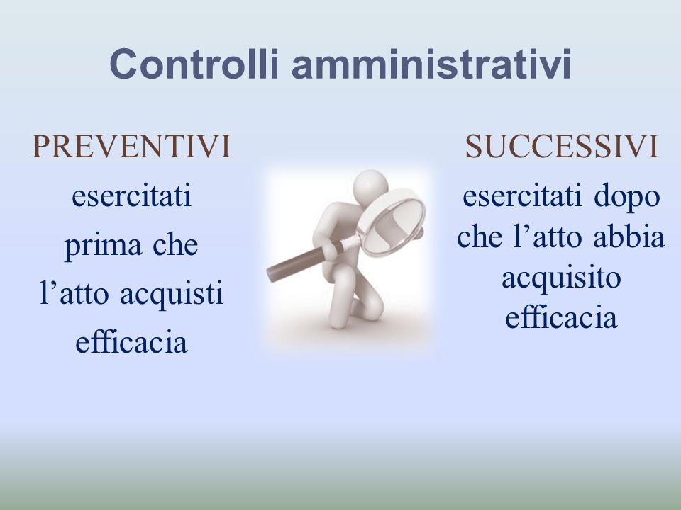 Controlli amministrativi PREVENTIVI esercitati prima che latto acquisti efficacia SUCCESSIVI esercitati dopo che latto abbia acquisito efficacia