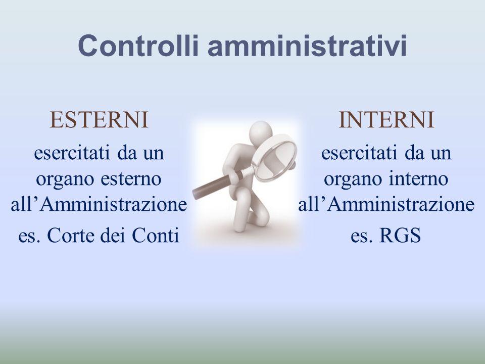 Controlli amministrativi ESTERNI esercitati da un organo esterno allAmministrazione es. Corte dei Conti INTERNI esercitati da un organo interno allAmm