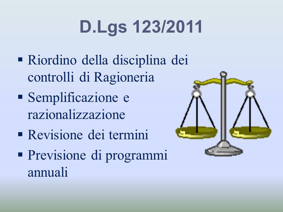 D.Lgs 123/2011 Riordino della disciplina dei controlli di Ragioneria Semplificazione e razionalizzazione Revisione dei termini Previsione di programmi