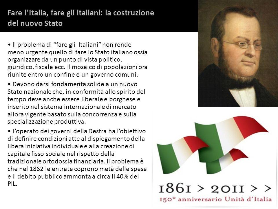 Fare lItalia, fare gli italiani: la costruzione del nuovo Stato Il problema di fare gli Italiani non rende meno urgente quello di fare lo Stato italia