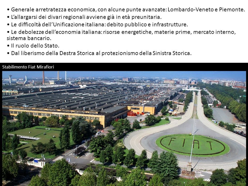 Stabilimento Fiat Mirafiori Generale arretratezza economica, con alcune punte avanzate: Lombardo-Veneto e Piemonte. Lallargarsi dei divari regionali a