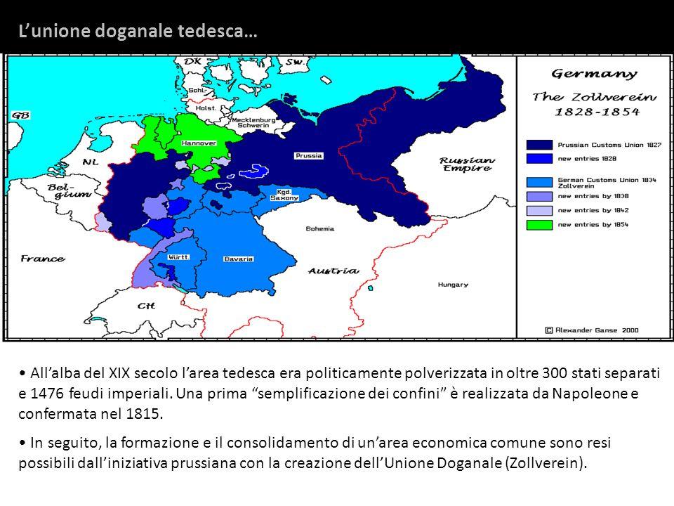 Allalba del XIX secolo larea tedesca era politicamente polverizzata in oltre 300 stati separati e 1476 feudi imperiali. Una prima semplificazione dei