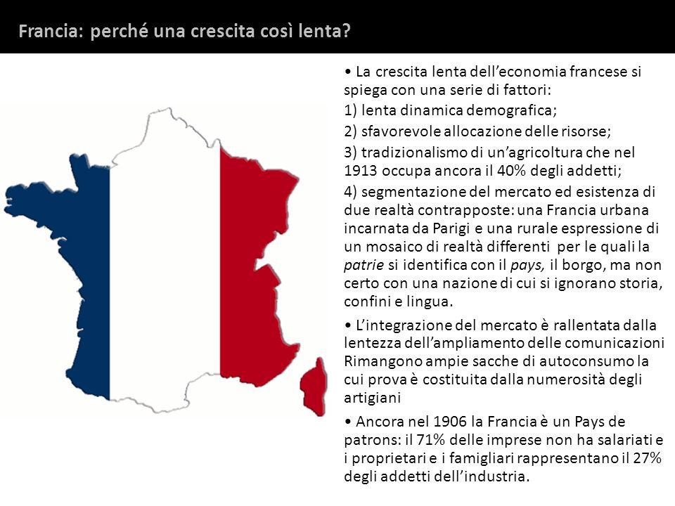 La crescita lenta delleconomia francese si spiega con una serie di fattori: 1) lenta dinamica demografica; 2) sfavorevole allocazione delle risorse; 3
