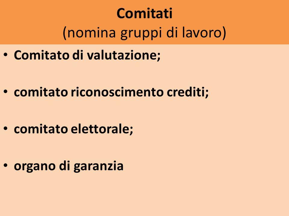 Comitati (nomina gruppi di lavoro) Comitato di valutazione; comitato riconoscimento crediti; comitato elettorale; organo di garanzia
