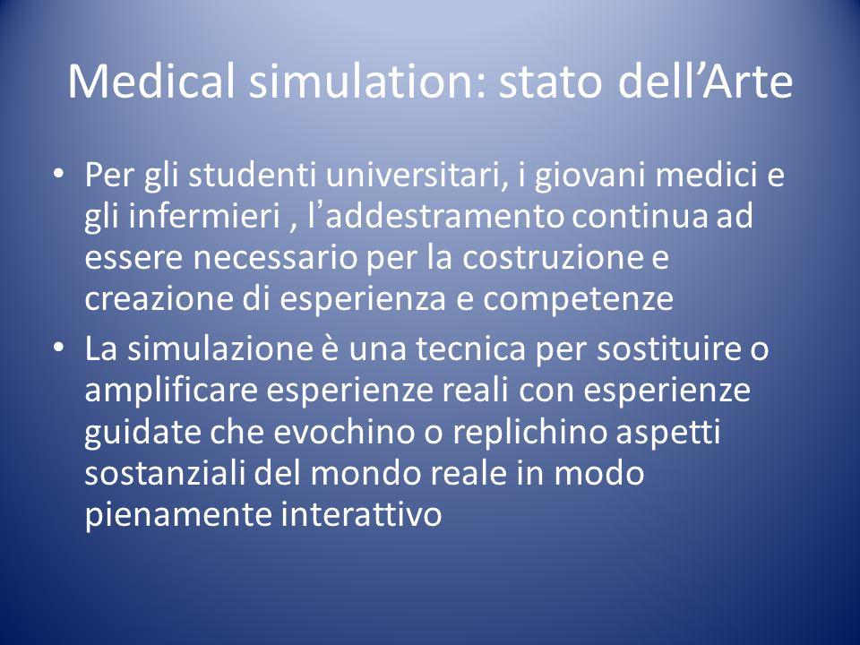 Medical simulation: stato dellArte Per gli studenti universitari, i giovani medici e gli infermieri, laddestramento continua ad essere necessario per