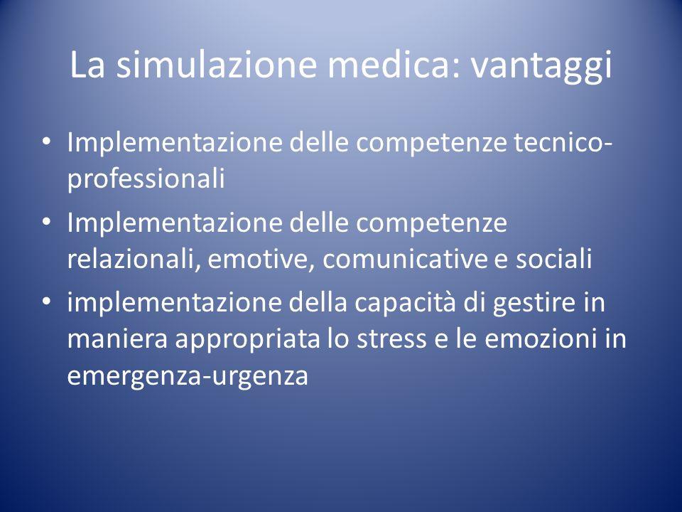 La simulazione medica: vantaggi Implementazione delle competenze tecnico- professionali Implementazione delle competenze relazionali, emotive, comunic