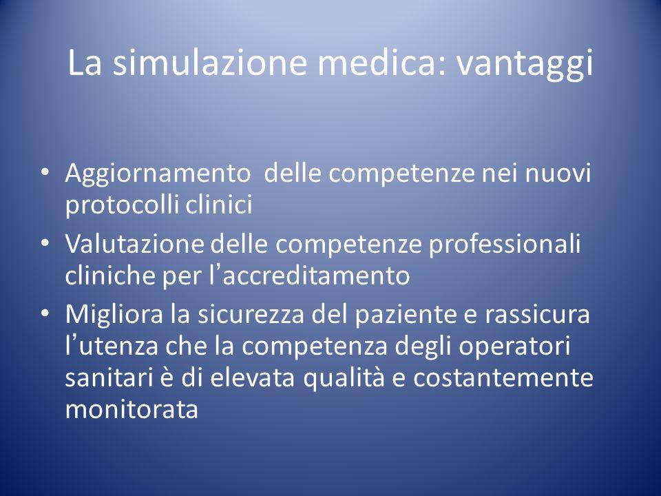 La simulazione medica: vantaggi Aggiornamento delle competenze nei nuovi protocolli clinici Valutazione delle competenze professionali cliniche per la