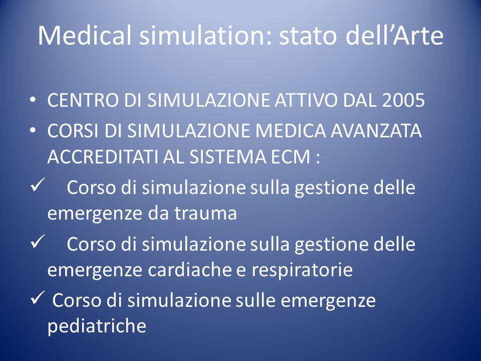 CENTRO DI SIMULAZIONE ATTIVO DAL 2005 CORSI DI SIMULAZIONE MEDICA AVANZATA ACCREDITATI AL SISTEMA ECM : Corso di simulazione sulla gestione delle emer