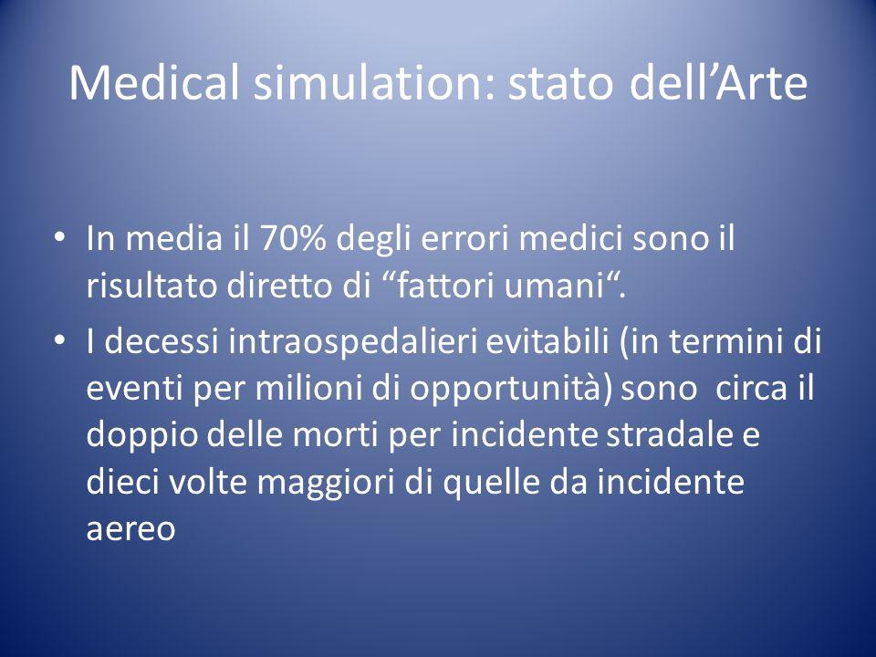 Medical simulation: stato dellArte In media il 70% degli errori medici sono il risultato diretto di fattori umani. I decessi intraospedalieri evitabil