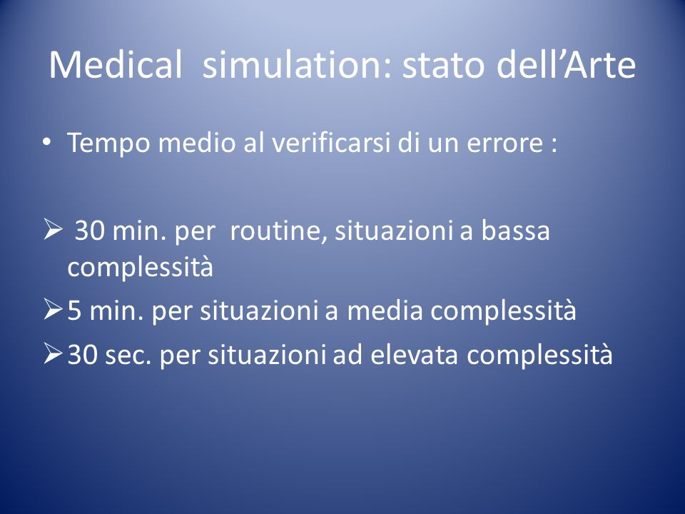 Medical simulation: stato dellArte Tempo medio al verificarsi di un errore : 30 min.