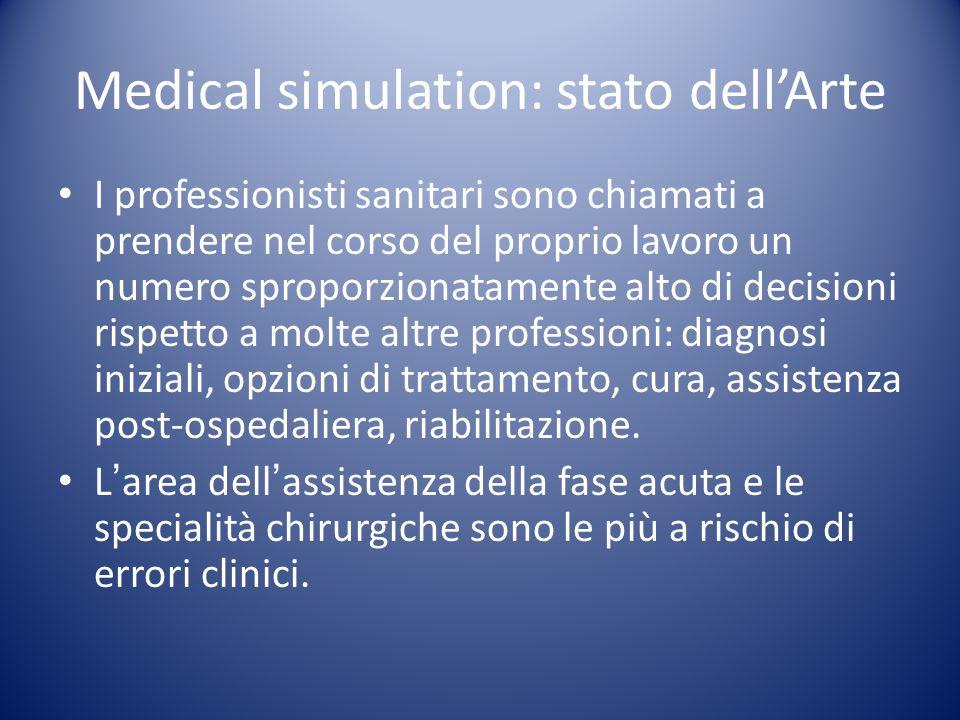 Medical simulation: stato dellArte I professionisti sanitari sono chiamati a prendere nel corso del proprio lavoro un numero sproporzionatamente alto