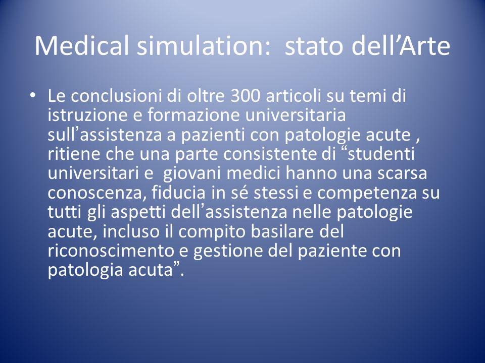 Medical simulation: stato dellArte Le conclusioni di oltre 300 articoli su temi di istruzione e formazione universitaria sullassistenza a pazienti con
